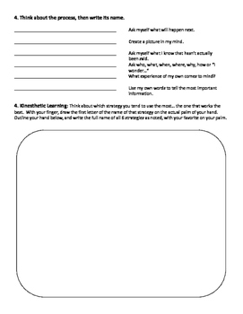 Rdg Comprehension Strategy Review Sheet