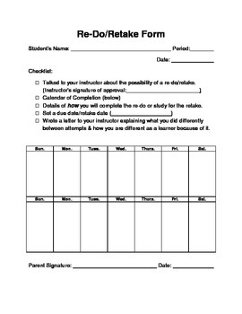 Re-dos & Retakes Policy & Student Request Form