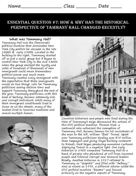 New Interpretations of Tammany Hall: Common Core & Research Based History Lesson