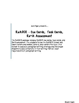 ReADER Task Cards & Quick Assessments
