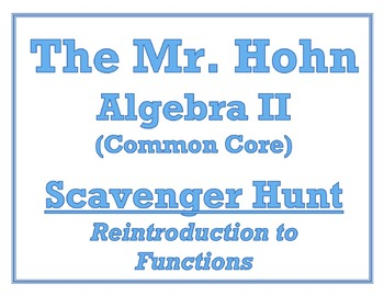 ReIntroduction to Functions Scavenger Hunt