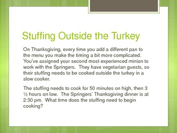 Real World Thanksgiving Practice with Elapsed Time