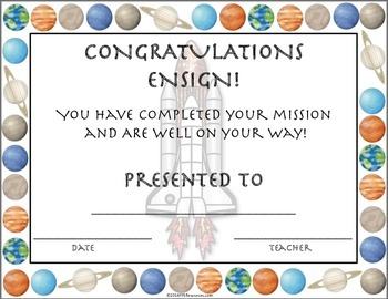 Reach Beyond the Stars Advancement Certificates