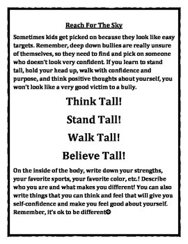 "Reach For The Sky: ""Think Tall! Walk Tall! Stand Tall! Believe Tall!"" worksheet"