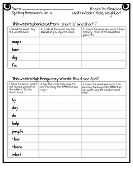 Reach for Reading National Geographic 2nd Grade Spelling Homework Units 1-8