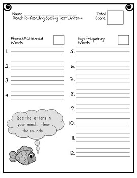 Reach for Reading National Geographic 2nd Grade Spelling Test Forms