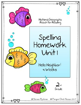 Reach for Reading National Geographic 2nd Grade Unit 1 Spelling Homework FREEBIE