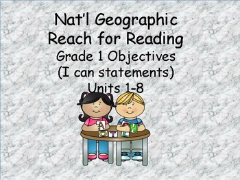 Reach for Reading Grade 1: Objectives (I can statements)
