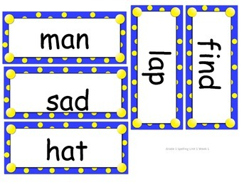 Reach for Reading Grade 1 Spelling word cards Units 1-8