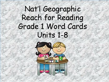 Reach for Reading Grade 1: word cards units 1-8