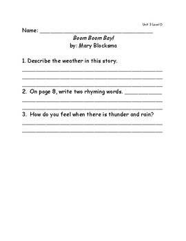 Reach for Reading Grade 2: Leveled Readers comprehension questions Unit 3