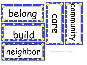 Reach for Reading Grade 2 Word cards