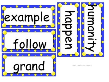 Reach for Reading Grade 3 Spelling word cards Units 1-8