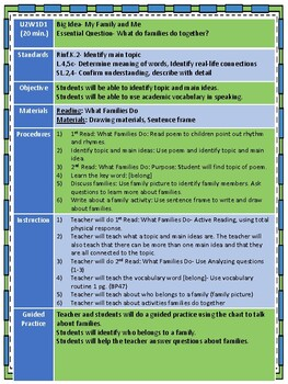 National Geographic Reach for Reading Kindergarten Lesson Plans  Unit 2 Week 1