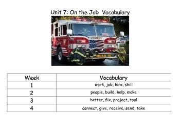 Reach for Reading Kindergarten Unit 7 Vocabulary Cards