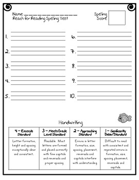 Reach for Reading National Geographic 1st Grade Spelling Test Forms