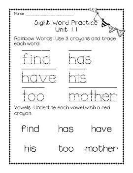 Reach for Reading National Geographic,  1st Grade Unit 1 Sight Word Practice