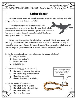 Reach for Reading National Geographic 2nd Grade Comprehension Test Practice U2