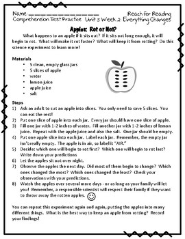 Reach for Reading National Geographic 2nd Grade Comprehension Test Practice U5