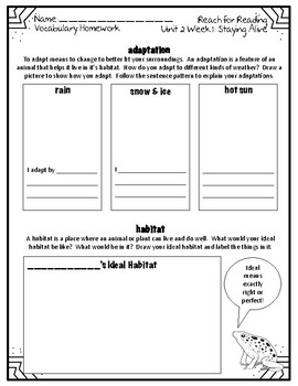 Reach for Reading National Geographic 2nd Grade Vocabulary Homework Unit 2