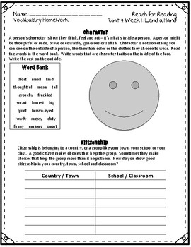 Reach for Reading National Geographic 2nd Grade Vocabulary Homework Unit 4