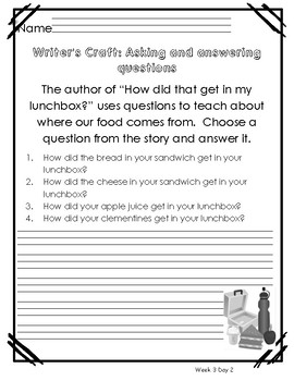 Reach for Reading Unit 3 Week 3 Morning Warm Ups, Writing Prompts and Vocabulary