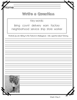 Reach for Reading Unit 3 Week 4 Morning Warm Ups, Writing Prompts and Vocabulary