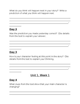 Reach for Reading Unit One Focus Questions