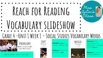 Reach for Reading Vocabulary - SS Unit 1 Week 1