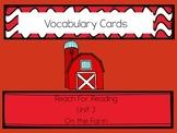 Reach for Reading Vocabulary Cards Kindergarten Unit 3: On the Farm
