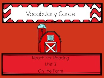 Reach for Reading Vocabulary Cards Kindergarten Unit 3: On