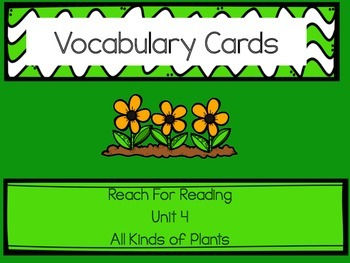 Vocabulary Cards Reach for Reading Kindergarten Unit 4: Al