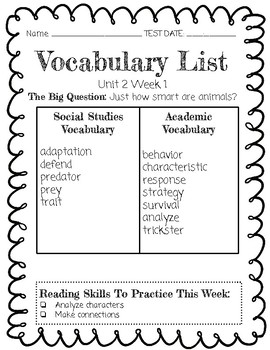 Reach for Reading Vocabulary Lists