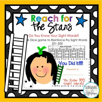 Sight Words Reach for the Stars Dice Game to Reinforce  Si