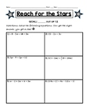 Reach for the Stars Activity- Solving Equations with Variables on Both Sides