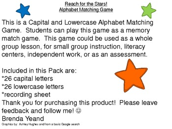 Reach for the Stars - An Alphabet Matching Game