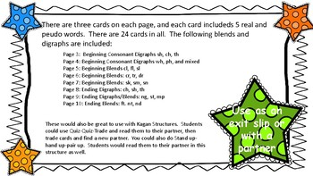 Blends and Digraphs real and pseudo words