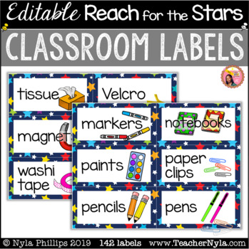 Reach for the Stars Themed Classroom Labels with Pictures - Editable