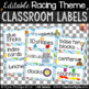 Racing Themed Classroom Labels with Pictures - Editable