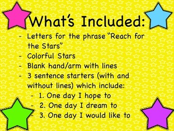 Reach for the stars / Student hopes and dreams writing