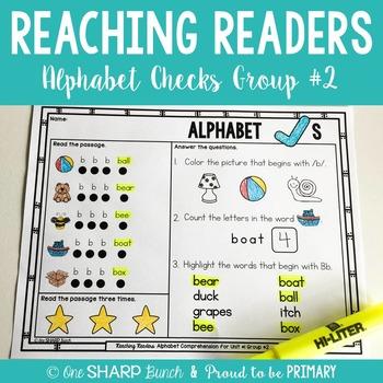 Reaching Readers Comprehension Alphabet Checks Unit 1