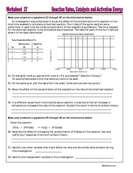 Reaction Rate, Catalysts, Activation Energy : Essential Skills Worksheet #37