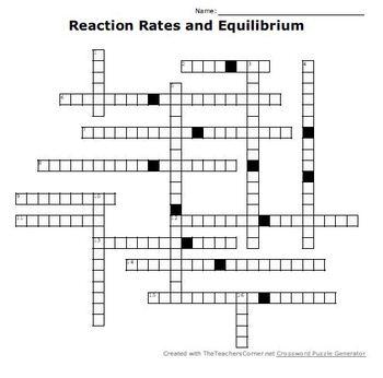 Reaction Rates and Equilibrium Crossword Puzzle