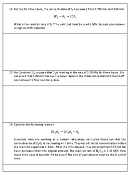 Reaction Rates and Stoichiometry Worksheet & Answer Key