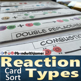 Reaction Types Graphic Organizer and Card Sort for Chemistry (English/Spanish)