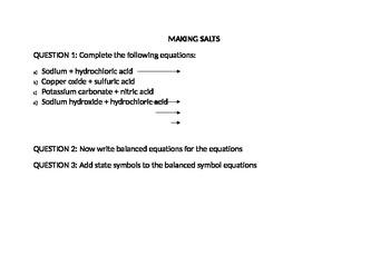 Reaction of metals with acids
