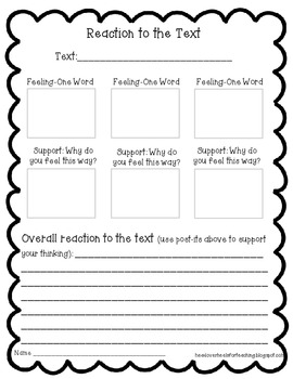 Reaction to the Text {Freebie} Sample From Reading With Post-Its II