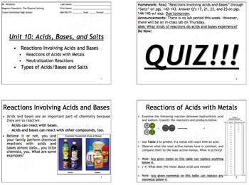 Reactions Involving Acids and Bases