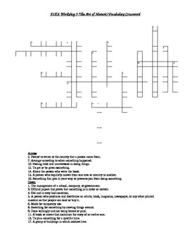 Read 180 FLEX Workshop 9 (The Art of Memoir) Vocabulary Crossword