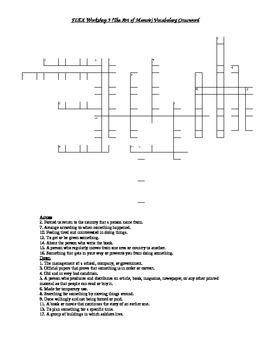 Read 180 FLEX Workshop 9 (The Art of Memoir) Vocabulary Crossword